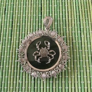 Vintage 70s Cancer June Crab 925 Silver Pendant